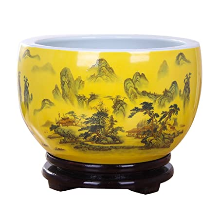 Bobe Shop Ceramic Flower Pot Chinese Style Indoor Decorative Yellow