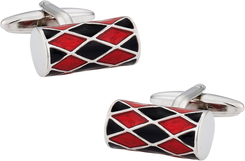 Cuff-Daddy Unique Red & Black Barrel Silver Cufflinks with Presentation Box