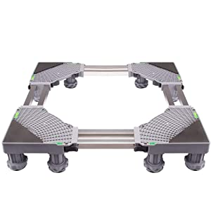 SEEYE Washing Machine Base Multi-functional Refrigerator Stand Double Tube Base Adjustable Roller Dolly Grey with 12 Strong Feet