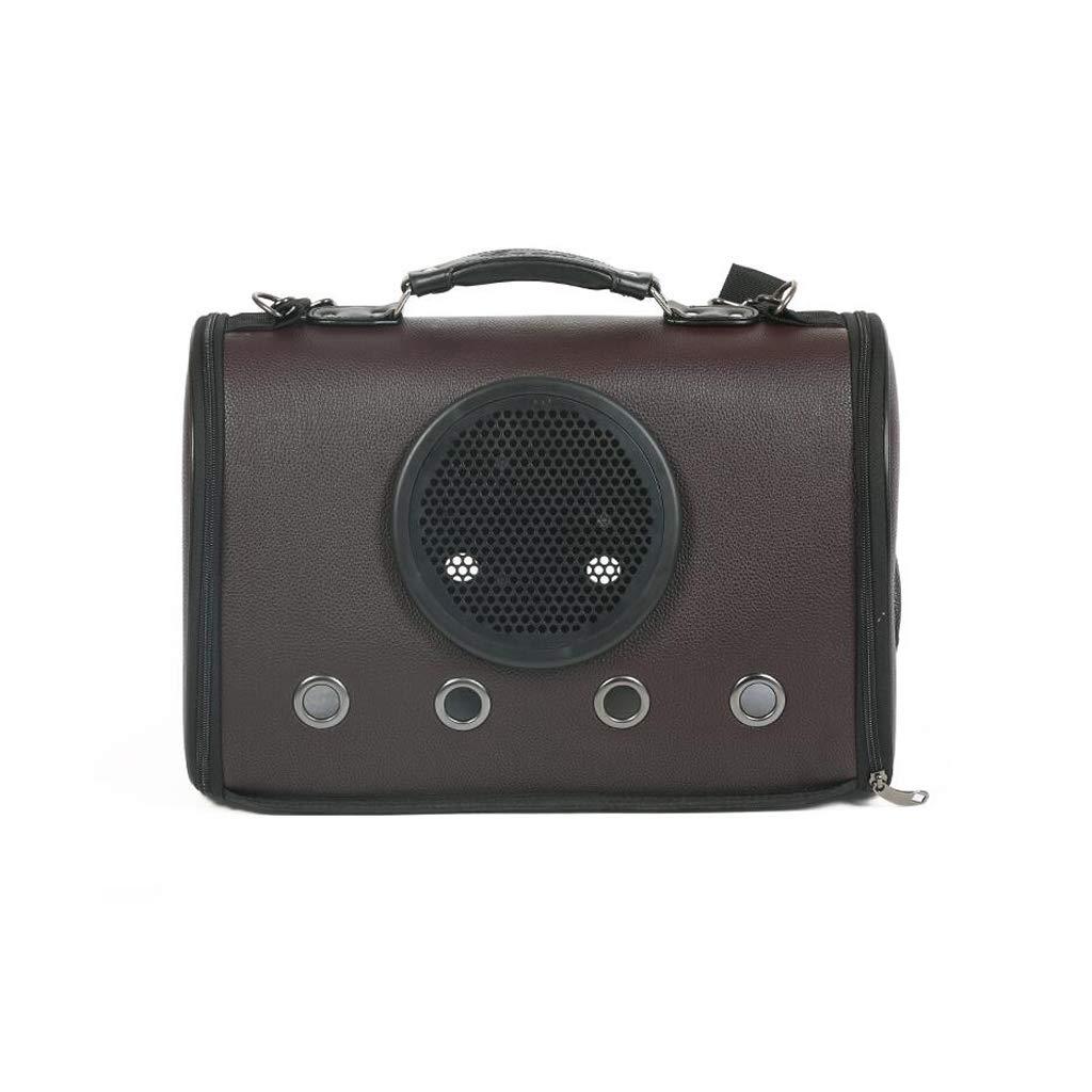 BROWN JKL Pet Backpack, Carrier Transparent Breathable Waterproof Space Capsule Astronaut Pet Cat Dog Puppy Carrier Bubble Travel Bag Outdoor Portable,44x26x31cm (Size   BROWN)