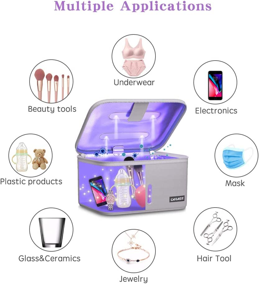 99/% C-leaned Within 3 mins Grey Professional LED U.VC Box Large Size c-Leaning Bag for Phone、Underwear、Nail Salon Equipment、Eyeglasses、Jewelry and Beauty Tools