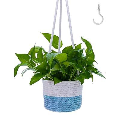 """Bouqlife Hanging Planter for Indoor Plants 7"""" Cotton Rope Basket Pot Holder Blue: Garden & Outdoor"""