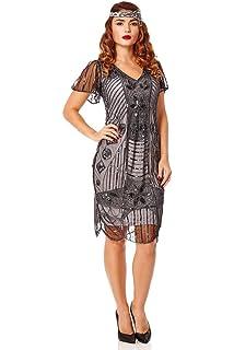 748eebb8342 gatsbylady london Daisy Vintage Inspired Flapper Dress in Black Silver