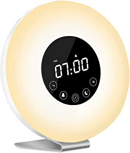 Sunrise Wake Up Light Digital Alarm Clock, MKROYO [2019 Upgraded] Alarm Clock with 7 Color Night for Bedside and Children, Multiple Nature Sounds, Sunrise and Sunset Simulation, FM Radio