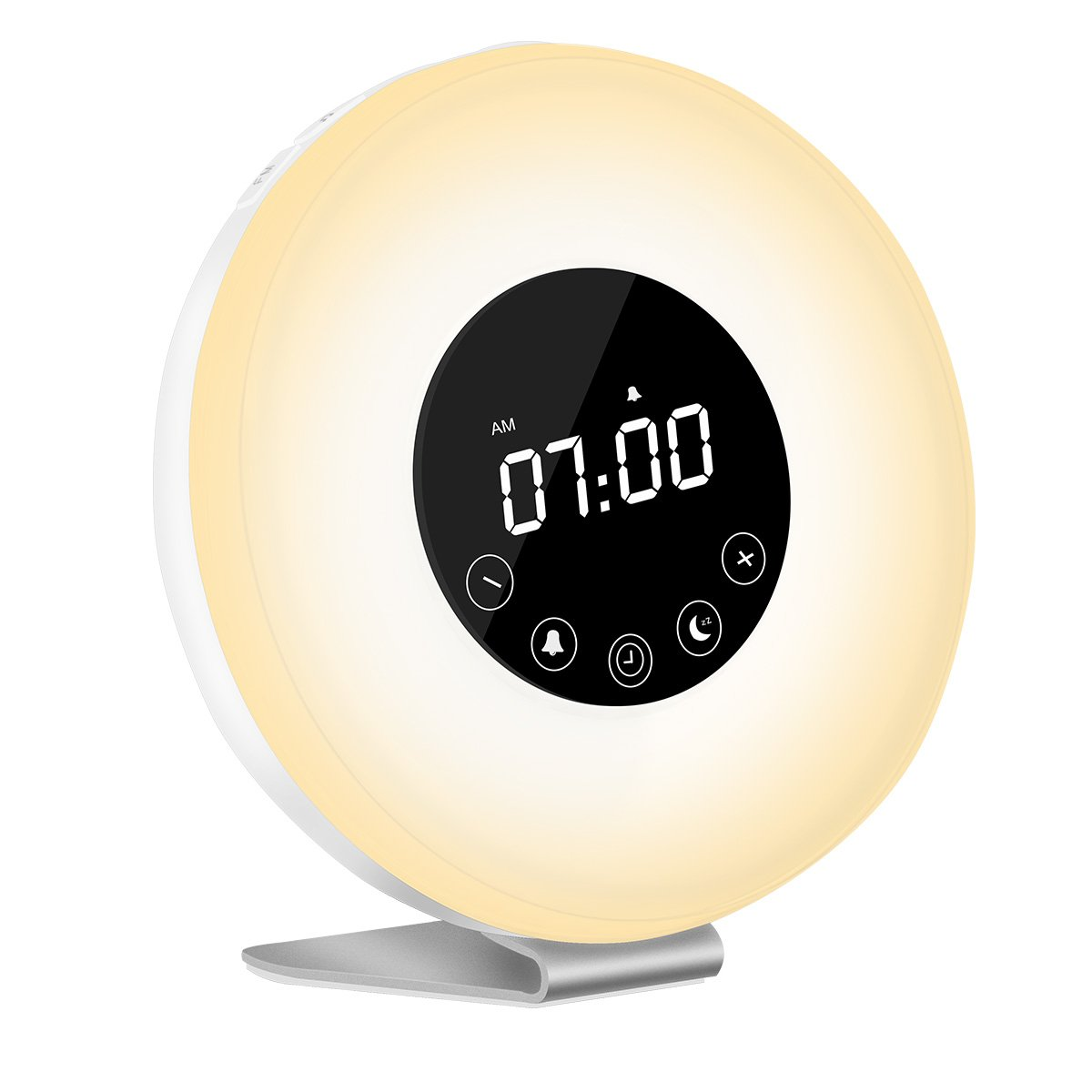 Sunrise Wake Up Light Digital Alarm Clock, Auelek [2018 Upgraded] Alarm Clock with 7 Color Night for Bedside and Children, Multiple Nature Sounds, Sunrise and Sunset Simulation, FM Radio and Touch Co