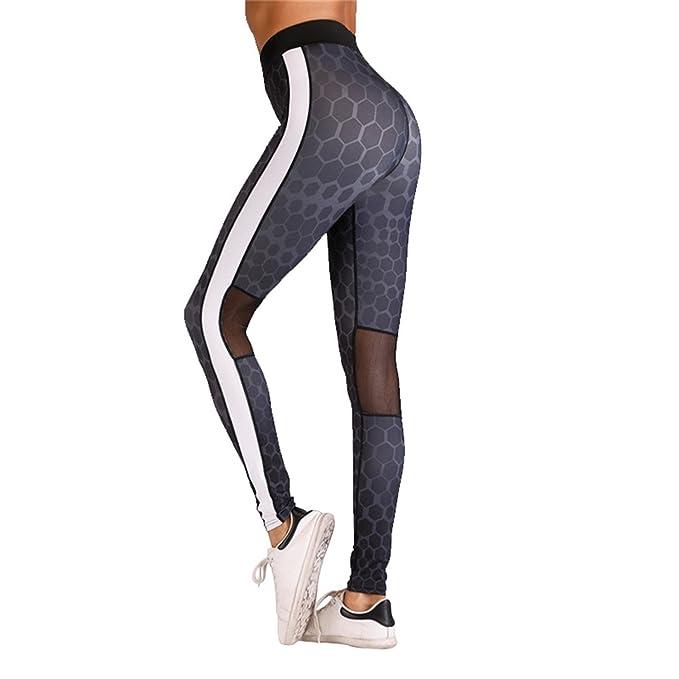 d5b960599c32c7 Mannerg Print Leggings Women Cotton White Side Stripes Mesh Jeggings High  Waist Fitness Girl Legging,