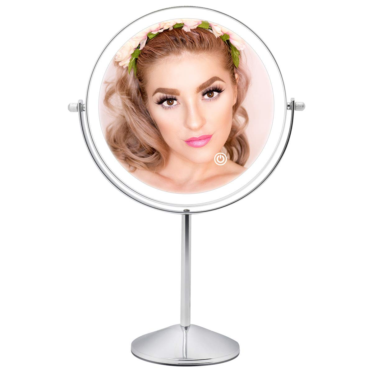 FASCINATE Rechargeable Lighted Makeup Mirror with 3 Color Lights, 8 Inch 1x 10x Magnifying Double Sided Led Vanity Mirror, 10x Magnification Cosmetic Mirror Tabletop Cord Cordless