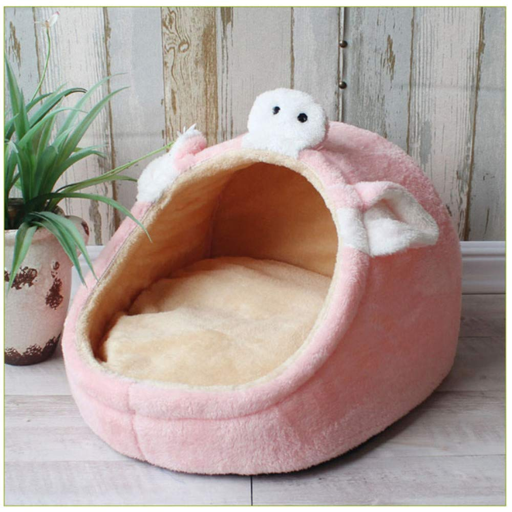 M Wuwenw Pet Bed Dog House Kennel Puppy Warm Buffer Basket Suitable For Small And Medium Dogs Fashion Strawberry Cave Cat Tent Puppy Nest Pink,M