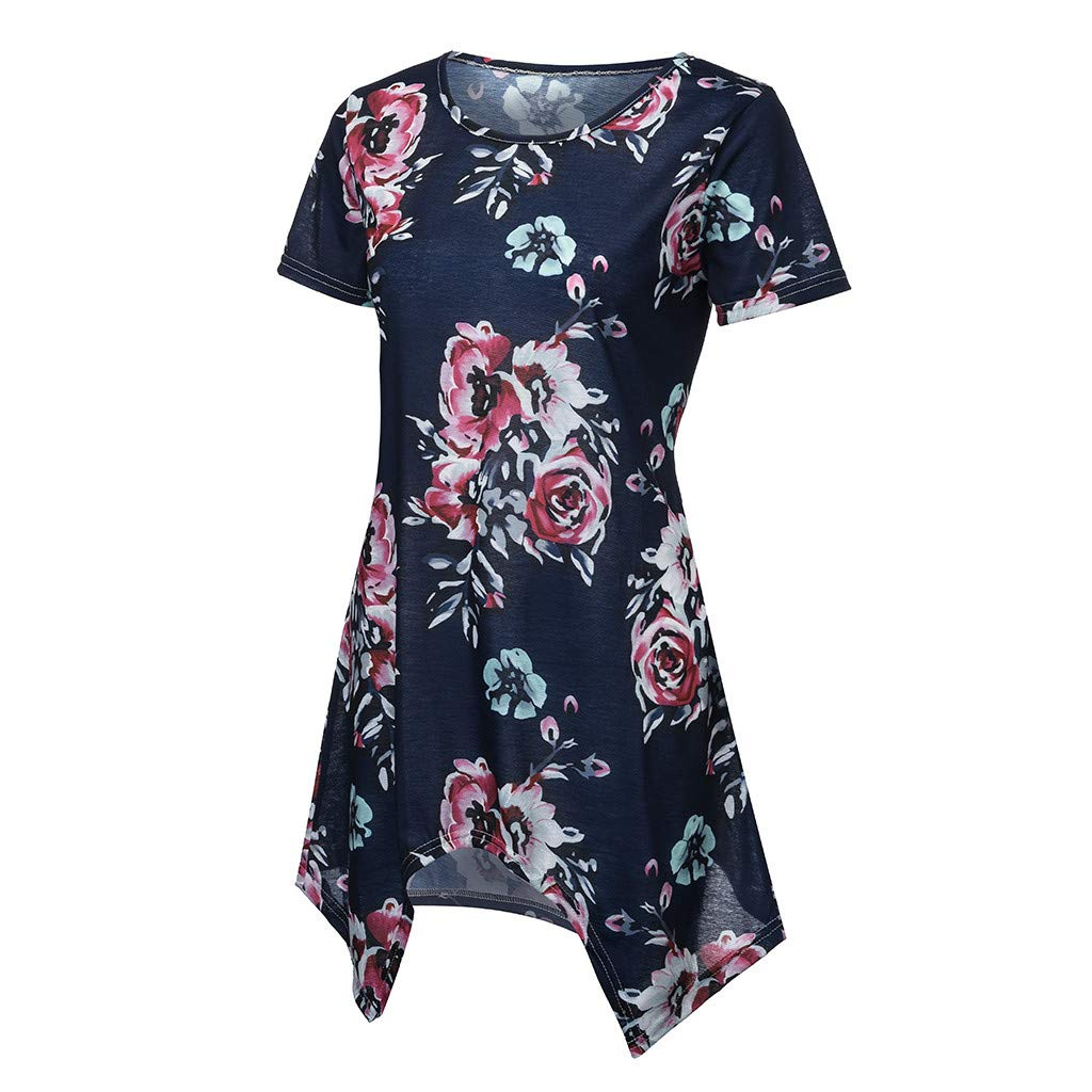 Womens Tunics Top Summer Floral Printed Blouse Irregular Hem T-Shirt Dress Casual Short Sleeve Tees