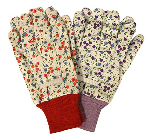 Cordova Safety Products Ladies Floral Printed Canvas Work & Garden Gloves with Gripping Dots - One Pair - Red or Purple