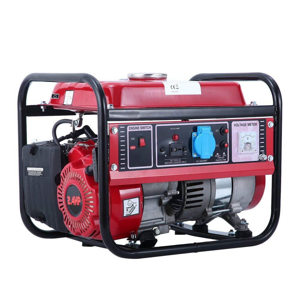 SWEEPID - Generatore di corrente a benzina WX-1500B (1500 W di potenza continua, 50 Hz di frequenza di valutazione, serbatoio da 6 l, presa da 220 V)