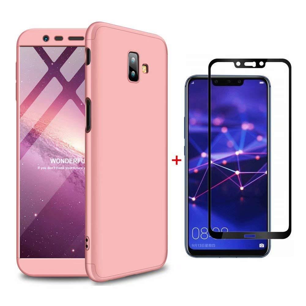 Coque Samsung Galaxy J6 Plus Ttimao PC É tui Rigide [Protecteur D'é cran en Verre Trempé ] Anti Scratch Antichoc Ultra-Mince 360 Degré s Full-Cover Case Triple-en-Un Housse de Protection (Or Rose)