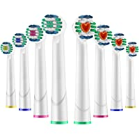 [FDA Safety Certificated] Electric Toothbrush Heads Replacement for Oral-B Brush Heads Refill Includes 4 3D White Heads + 4 Soft Brush Heads
