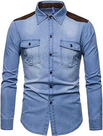Camisa de algodón de mezclilla for hombres Camisa de manga larga de mezclilla lavada Slim Fit Boys Moda juvenil Camisas de cierre con botones ocasionales Camisa de vestir casual de los hombres:
