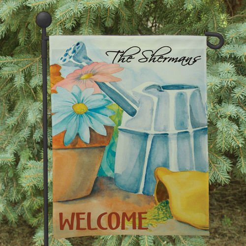 """Double Sided Personalized Spring Garden Flag, 12 1/2"""" w x 18"""" h, Polyester"""