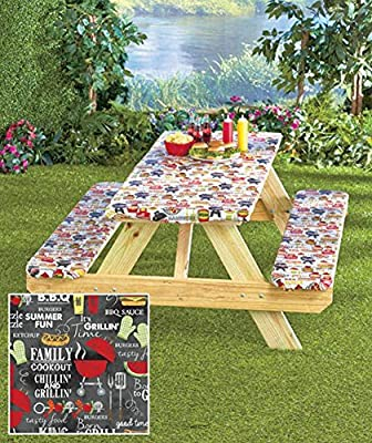 3 Piece Fitted Picnic Table & Bench Seat Cover Set GRILL KING Elastic Fit Patio Tablecloth