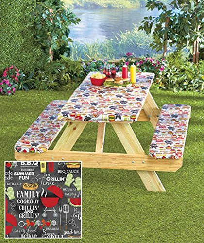 3 Piece Fitted Picnic Table Amp Bench Seat Cover Set Grill