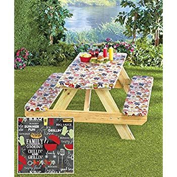 3 Piece Fitted Picnic Table And Bench Covers 16 8 Samuelhill Co