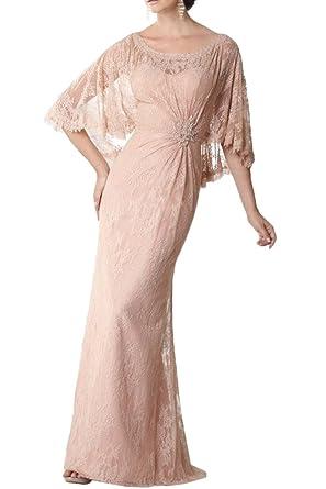 Prom Style Damen Elegant Spitze Abendkleider Ballkleider Cocktailkleider  Etui Lang Brautmutterkleider mit Aermel Cape -32