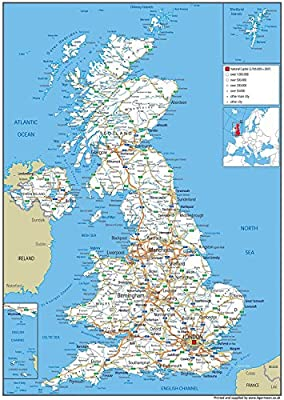 Map Of England Poster.United Kingdom Uk Road Wall Map Poster Clearly Shows Motorways