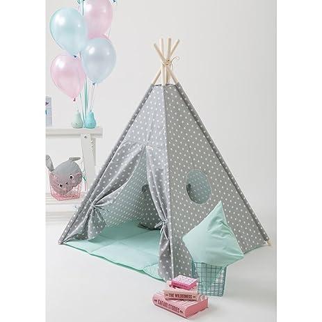 grey star Teepee Kids Play Tent kids play house children teepee  sc 1 st  Amazon.com & Amazon.com: grey star Teepee Kids Play Tent kids play house ...