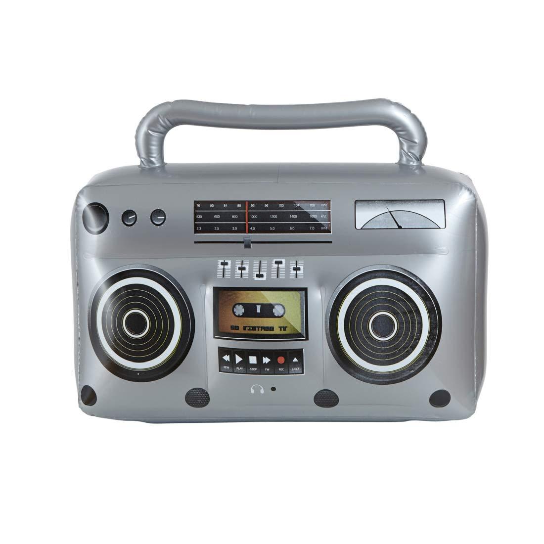 Reproductor de Cassettes a/ños 80 para inflar/ Amakando Radio Retro a/ños 80 Inflable/ 50 cm en Plateado El Centro de atenci/ón para Fiestas tem/áticas y Fiestas Retro