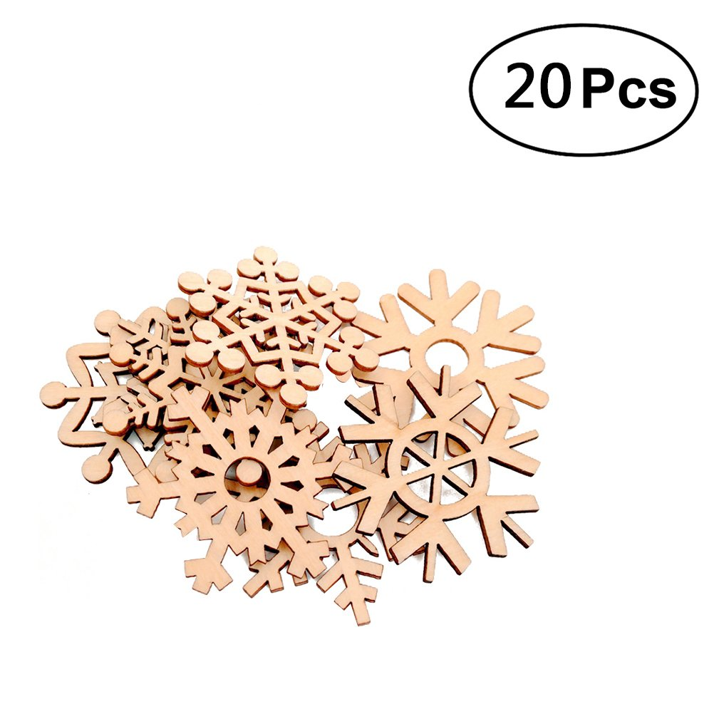 ROSENICE Snowflakes Wooden Embellishments Crafts Christmas Tree Hanging Ornament - 20 Pieces