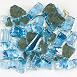 My Fireplace Glass - 25 Pound Terrazzo Chip Fireplace Glass - Size 2, 1/4 - 3/8 Inch, Blue Reflective
