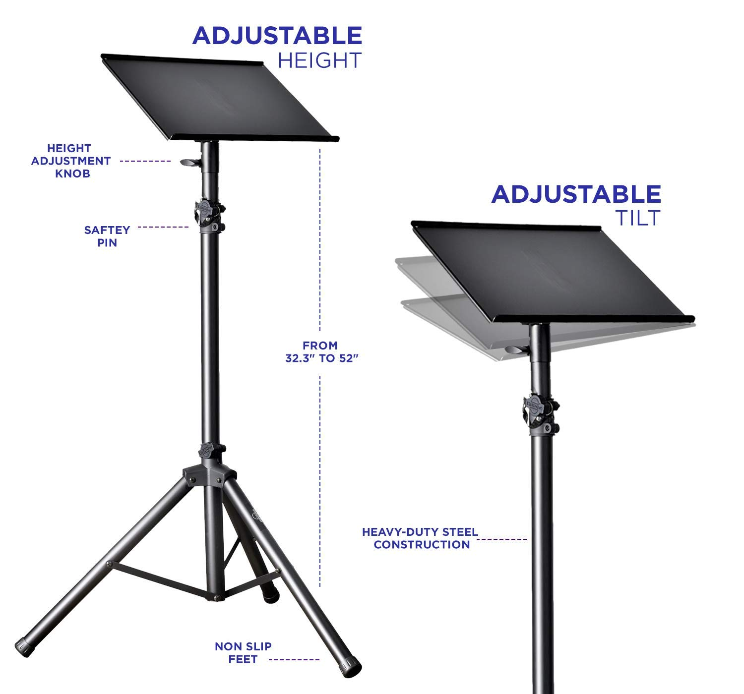 Professional Adjustable 32.3'' - 52'' Laptop DJ Mixer Tripod Stand | Lightweight & Portable 15.3'' x 12.2'' Tilted Tri-Pod Tray for Processors, Audio Controllers & Tablets | Raised Edges for Protection by STARUMENT (Image #5)