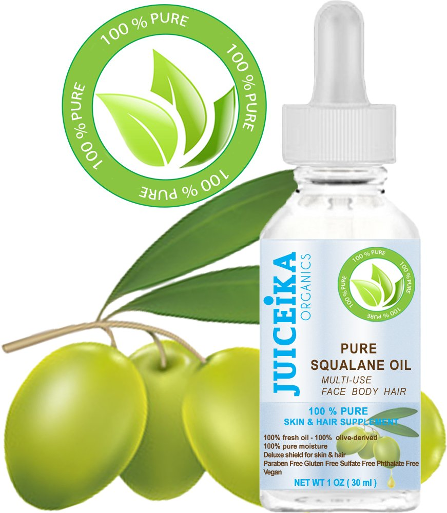 PURE SQUALANE OIL 100% Pure Moisturizer for Face, Body, Hair, Lip and Nail Care. 1 Fl.oz.- 30 ml. by Juiceika Organic
