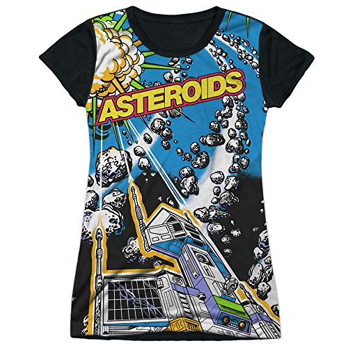 Price comparison product image Atari Asteroids Arcade Game All Over Space Ship Juniors Black Back T-Shirt Tee