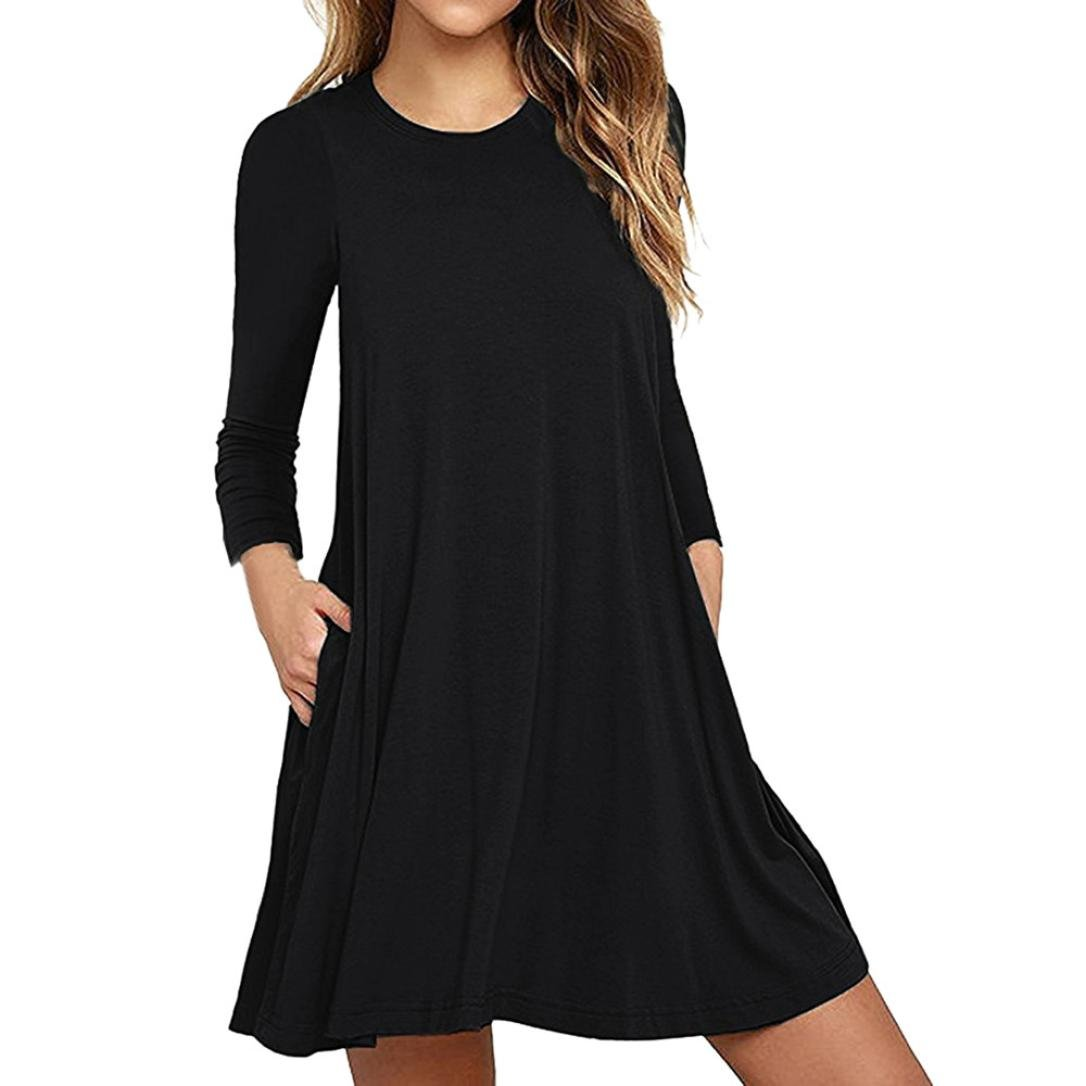 DRACLE Women's Dress, Long Sleeve Pocket Loose Cotton Blend Pocket T-Shirt Evening Party Dress Fashion (S, Black)