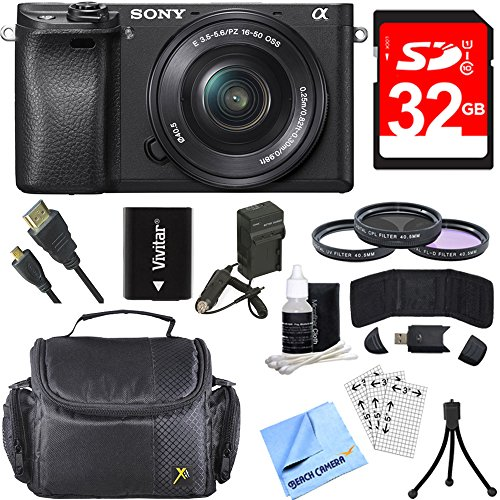 Cheap Sony Alpha a6300 ILCE-6300 4K Mirrorless Camera w/ 16-50mm Power Zoom Lens Bundle includes a6300 Camera, 16-50mm Zoom Lens, 40.5mm Filter Kit, 32GB SDHC Memory Card, Beach Camera Cloth and More!