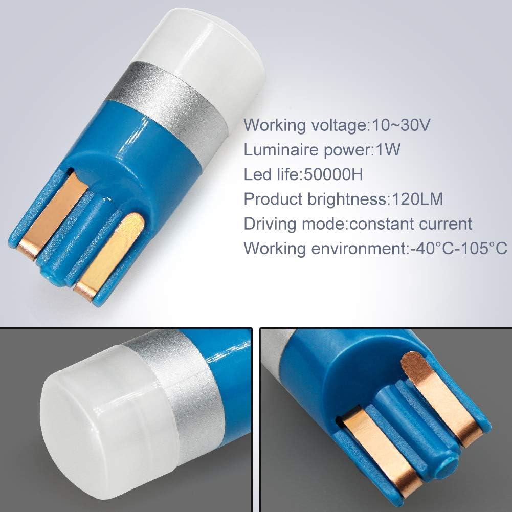W5W LED Canbus,T10 LED Ampoules de Voiture 2825 168 175 194 192 Feux de voiture int/érieur pour Lumi/ère D/ôme Carte C/ôt/é Feux de Plaque Immatriculation Bleu 10V-30V 4Pcs
