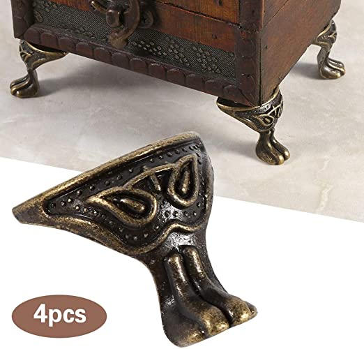 4Pcs Antique Brass Jewelry Chest Wood Box Case Feet Leg Corner Protector