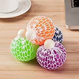 Mesh Squishy Ball Super Big 7.5cm Rubber Vent Grape Stress Ball Squeezing Stress Relief Ball- For Kids & Adults.Stress Squishy Toys For Autism, ADHD, Bad Habits & More (4PCS)