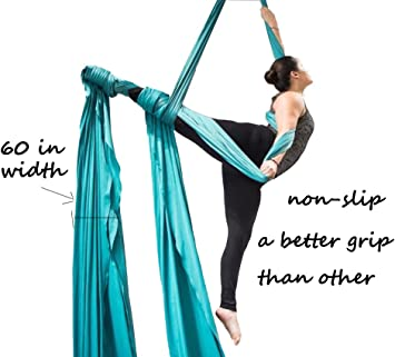 F.Life Aerial Silks Equipment- Medium Stretch Silk for Acrobatic Dance Aerial Yoga Hammock, 10 Meters Long