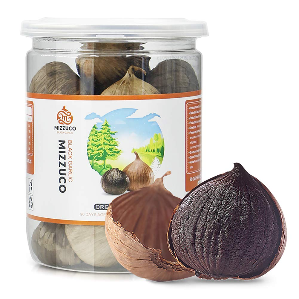 Mizzuco Black Garlic, 180G Organic WHOLE Black Garlic Natural Fermented for 90 days Healthy Snack Ready to Eat or Sauce