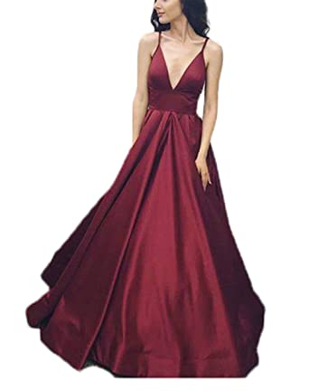 2018 Womens Sexy Burgundy Prom Dress A line Long Gala Dresses Vestidos