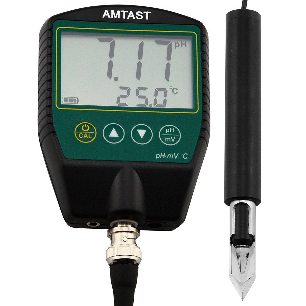 AMTAST Portable pH Meters for Meat Fruit Drinks Food, pH Testing with Stainless Steel Penetration Blade pH Probe, Range 0~14.00Ph, Temp 0~100°C