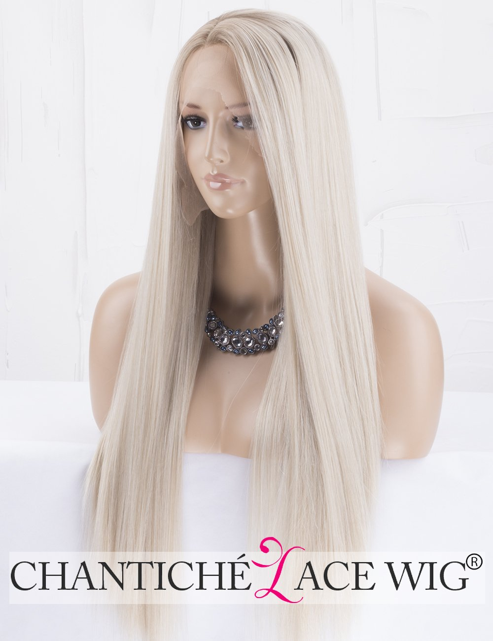 Chantiche Natural Looking Dark Roots Long Ombre Blonde Wig Straight Hair Synthetic Lace Front Wigs UK for Women Side Part Heat Resistant Fiber 24 Inches Chantiche Lace Wig
