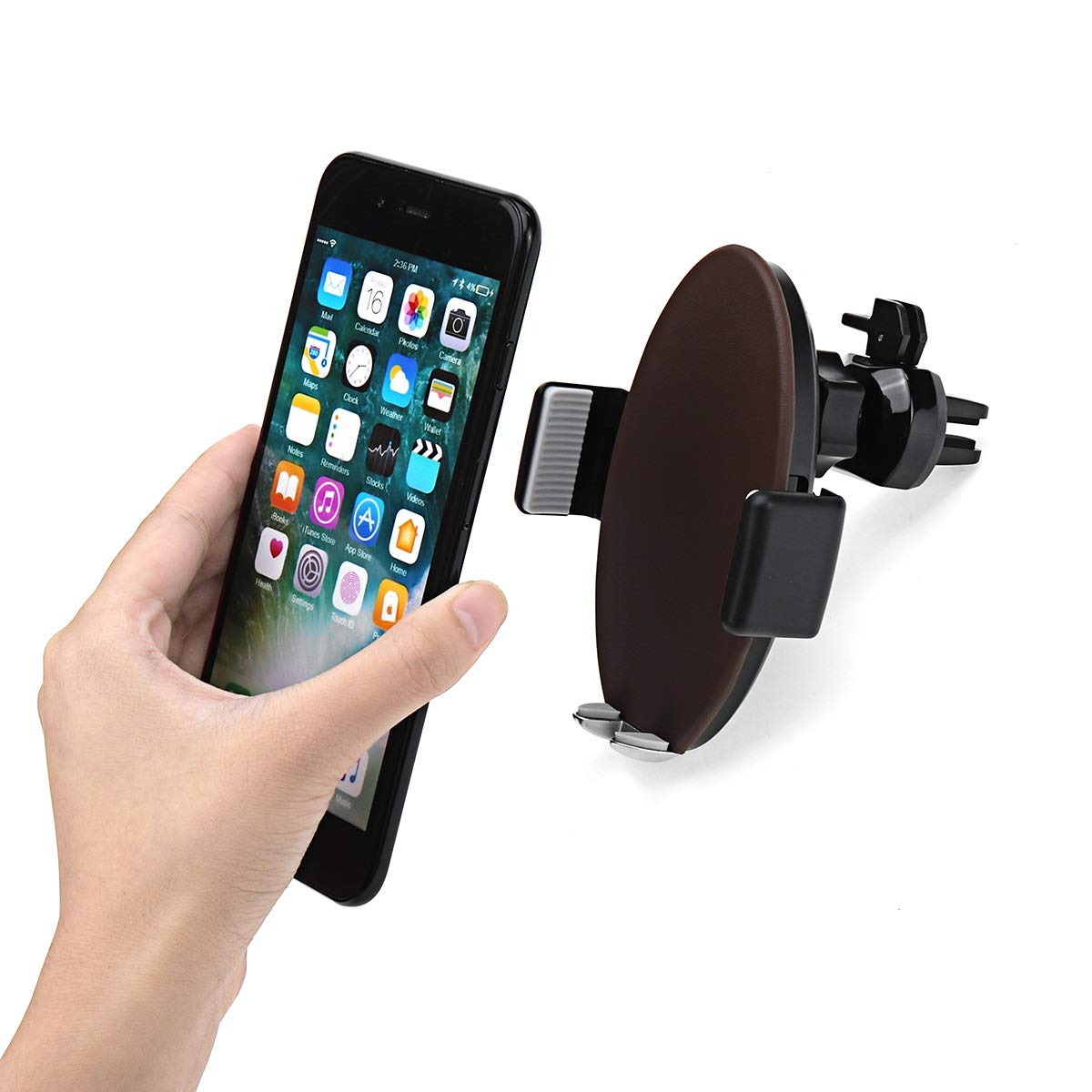 ZHENWOCAI Car Air Vent Fast Wireless Charger Phone Holder Touch Automatic Mount for iPhone X New (Color : Brown)