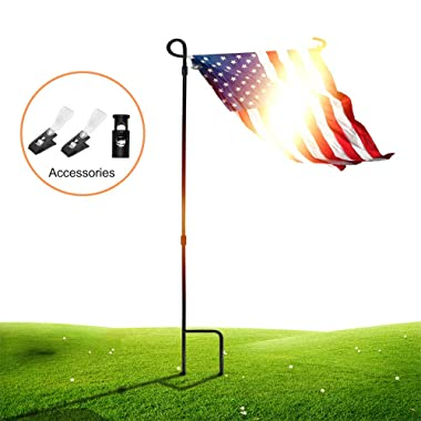 SSRIVER Garden Flag Stand Pole Holder with Garden Flag Stopper and Anti-Wind Clip 36.22  H x 16.53  W for Premium Metal Wrought Iron Powder Coated Weather-Proof Paint Steel (Black FlagPole- 1)