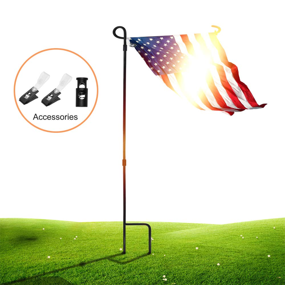 SSRIVER Garden Flag Stand Pole Holder with Garden Flag Stopper and Anti-Wind Clip 36.22'' H x 16.53'' W for Premium Metal Wrought Iron Powder Coated Weather-Proof Paint Steel (Black FlagPole- 1)