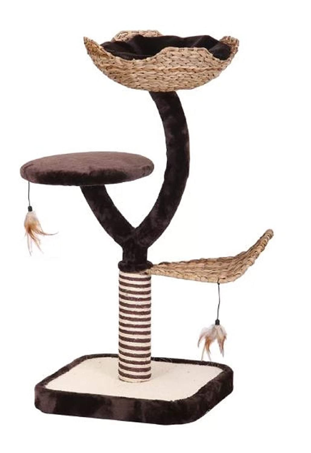 Three Level Cat Tree. Multi-Level House 39  Three Level Cat Tree with Nest and Small Swatting Toys Brown Cream