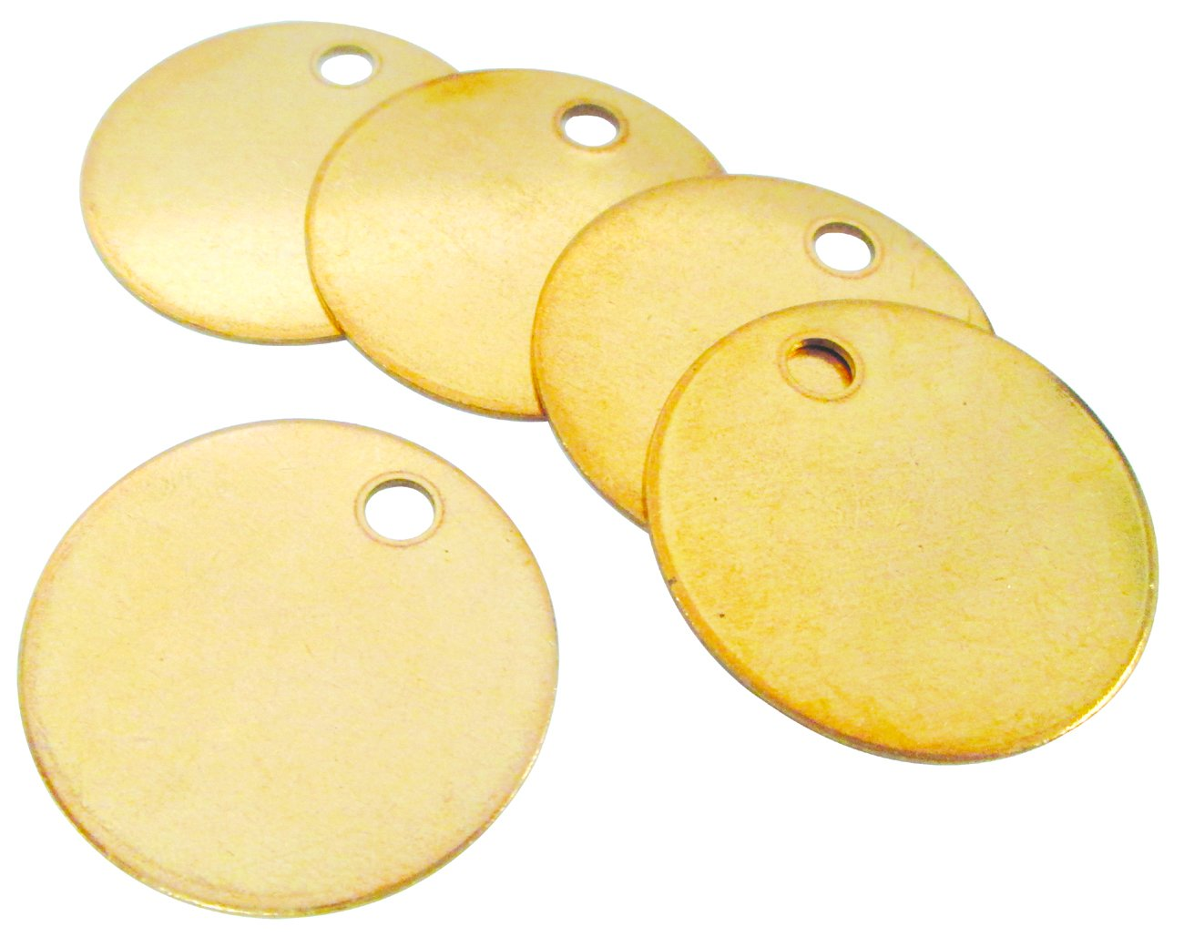 CH Hanson Blank Metal Tags - 1 1/4'' Round with Hole, Brass 18 Gauge, Model 1090B  - 100 Pack