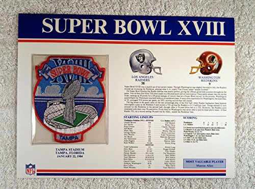1984 Los Angeles Raiders (Super Bowl XVIII (1984) - Official NFL Super Bowl Patch with complete Statistics Card - Los Angeles Raiders vs Washington Redskins - Marcus Allen MVP)