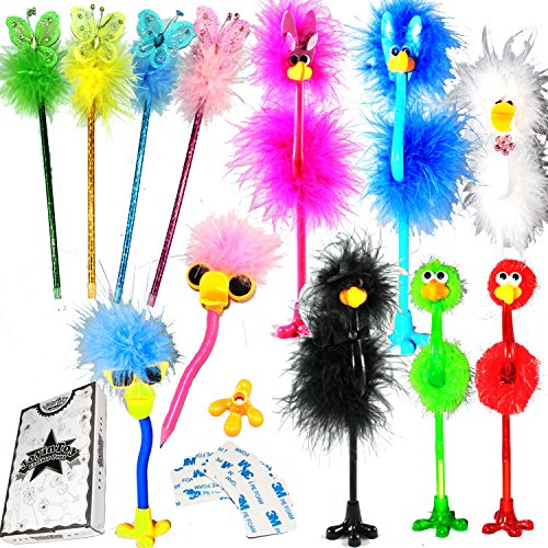 JOYIN 12 Pack Deluxe Feather Boa Marabou Pens Set Girls Party Favor -