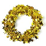 Lacheln Star Tinsel Decoration Christmas Tree Garlands,2 Sets,49 Feet Total,Glittering Golden