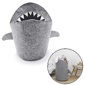 TEEPAO Shark Laundry Basket Large Cartoon Felt Laundry Hamper Organizer Bins Bag Tote with Sided Handle - Multifunctional Storage Bag for Clothing,Kids Toys,Office Home
